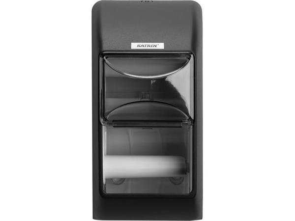 KATRIN 2-rollen Toiletpapierhouder, kunststof, 300 x 145 x 145 mm, Zwart