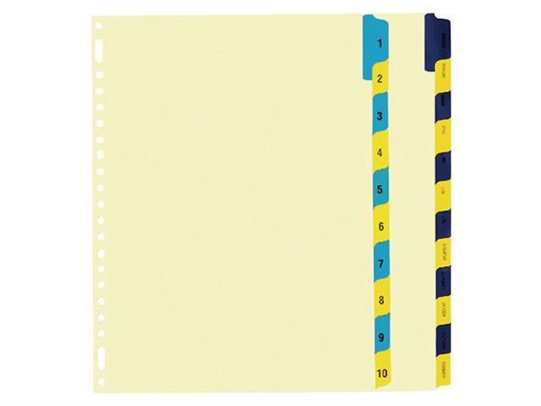 Staples Tabbladen chamois karton 23 rings, A4, bedrukte tabs, 1-12 (set 12 vel)