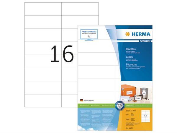 Herma Premium permanent papieretiket, 105 x 37 mm, 100 vellen, 16 etiketten per A4-vel, wit (pak 1600 stuks)