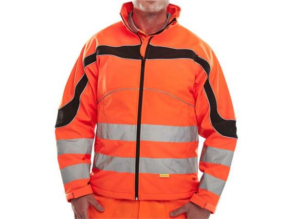 B SEEN Eton Softshell Jas, Reflecterend, Fleece-gevoerd, Maat 5XL, Oranje