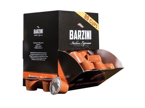 BARZINI Espresso, UTZ Koffiecapsules (doos 6 x 80 stuks)