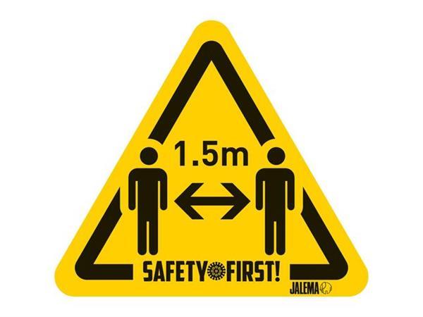 Jalema Waarschuwingssticker 1,5 meter afstand houden, Geel en zwart (pak 4 stuks)