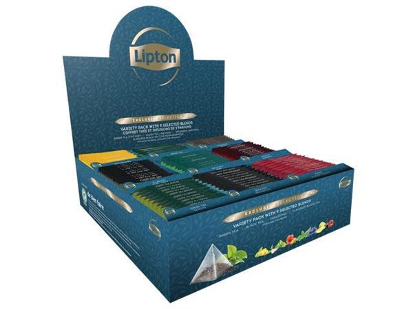 Lipton Exclusive Selection Assortiments, afzonderlijk verpakte theezakjes (doos 108 stuks)