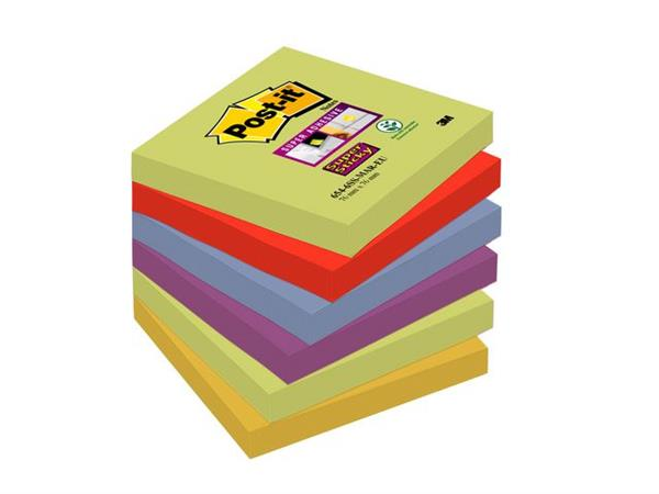 Post-it® Super Sticky Notes Marrakesh kleuren, 76 x 76 mm (pak 6 blokken)