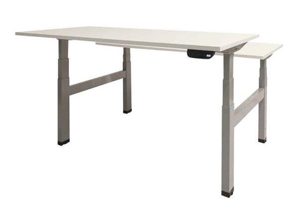 Prof Desk Dextro Plus Duo Verstelbaar Bureau, 180 x 80 cm, Wit Blad, Zwarte Poten