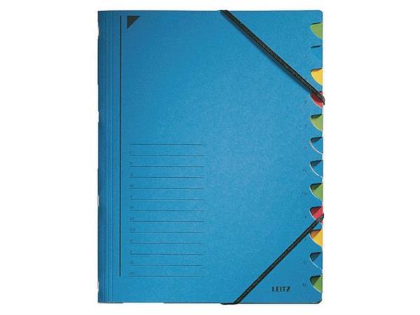Leitz Kartonnen sorteermap 12 vakken, blauw (doos 5 stuks)