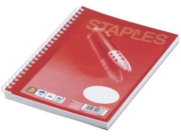 Staples Spiraalblok A5, Gelinieerd (pak 5 x 100 vel)