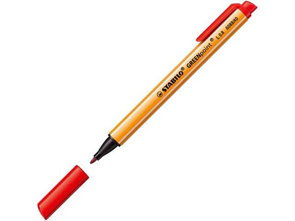 STABILO Fineliner GREENpoint 0,8 mm, rood (doos 10 stuks)