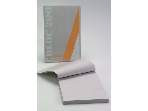 AURORA Office BLOC 200 Schrijfblok 135 x 210 mm, Geruit 5 mm, Grijs / Blauw (pak 5 stuks)