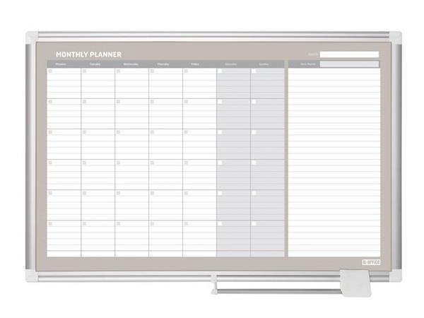 Bi-Office New Generation Maandplanner, Magnetisch, Gelakt Staal, Aluminium Frame, 900 x 600 mm