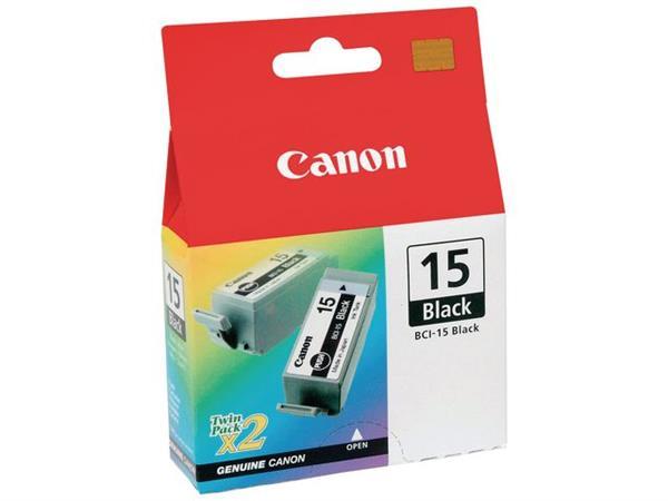 Canon BCI-15 Inktcartridge, Zwart (pak 2 stuks)
