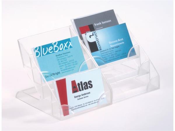 Durable Visitekaarthouder Tafelmodel, 4 Onderverdelingen, Plastic, Transparant