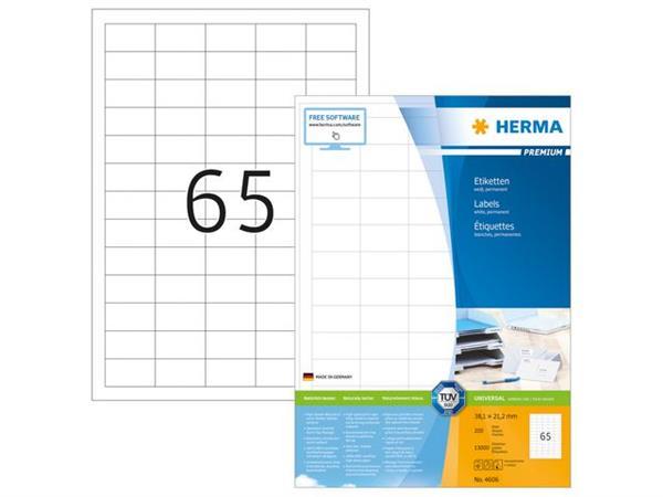 Herma Premium permanent papieretiket, 38,1 × 21,2 mm, rechte hoek, wit (pak 13000 stuks)