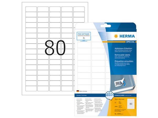Herma Herpositioneerbare etiketten met ronde hoeken (pak 2000 stuks)