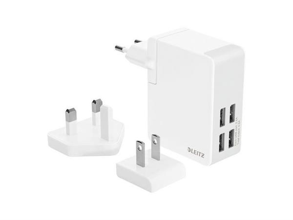 Leitz USB Charger, 4 Stekkers, 24 W, Wit