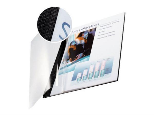 Leitz Soft Covers inbindomslagen, A4, 36-70 vel, zwart met transparante voorkant (pak 10 stuks)