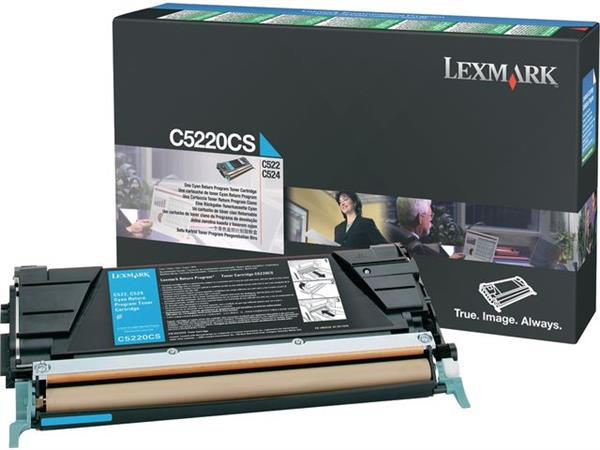 Lexmark C522 Toner, Single Pack, Cyaan