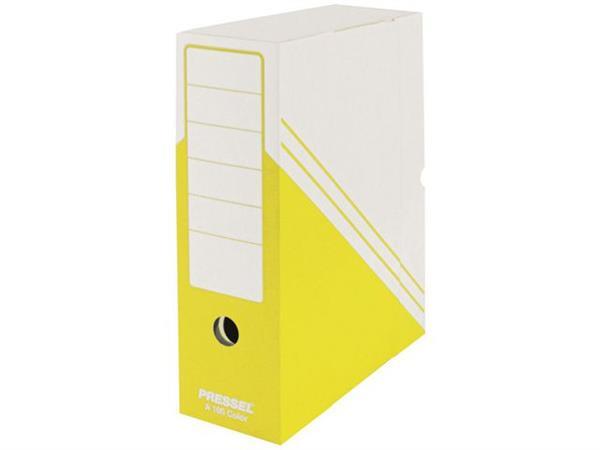 Pressel Archiefdoos, Karton, 260 x 100 x 325 mm, Wit met Geel (pak 20 stuks)