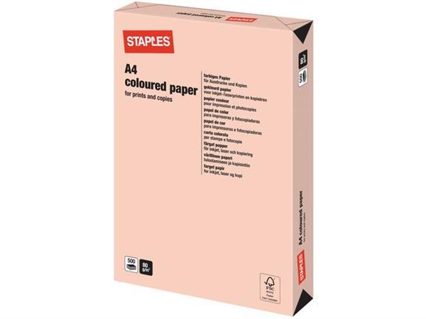 Staples Papier, A4, 80 g/m², Zalmroze (pak 500 vel)