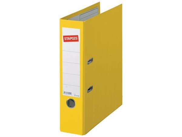 Staples Ordner, A4, Rugbreedte 80 mm, Karton met Polypropyleen, Geel