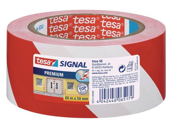 tesa® Signal Premium Waarschuwings- en markeringstape, 50 mm x 66 m, Rood-Wit (rol 66 meter)