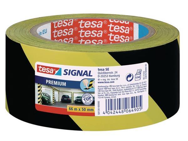 tesa® Premium Markeringstape, Klevend, 50 mm x 66 m, Geel en zwart (rol 66 meter)