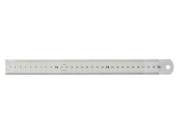 Liniaal roestvrijstaal, 30 cm